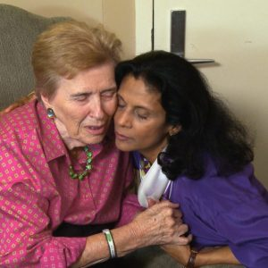 Patricia Lichtenberger with Gytha Von Aldenbruck, a long-time Memory Bridge advocate, in a scene from the documentary Love Is Listening: Dementia Without Loneliness.