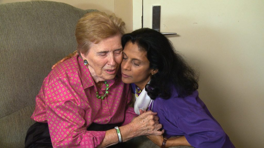 Patricia Lichtenberger with Gytha Von Aldenbruck, a long-time Memory Bridge advocate, in a scene from the documentary <em>Love Is Listening: Dementia Without Loneliness</em>.